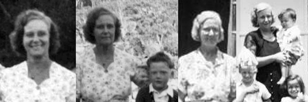Photographic collage 1940s and 1950s showing Dorothy May Clingan with her grandchildren