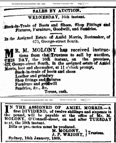 Newspaper classified ad about the financial problems of Amiel Morris in 1868-9