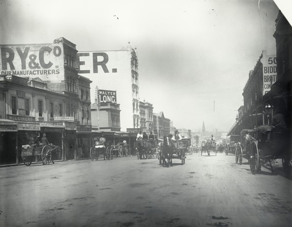 """Old photo of George Street, Sydney c.1885-1890. This image is part Records NSW """"Moments in Time"""" series that is now in the public domain."""