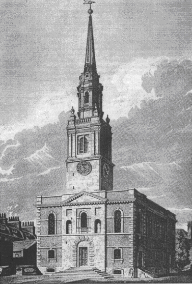 The new church of St James, Clerkenwell, drawn in 1806