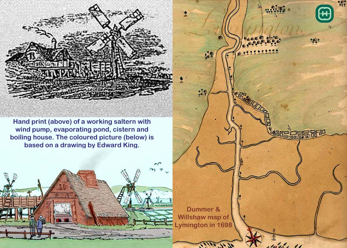 Map of Lymington in 1698 and hand prints of a working saltern with wind pump, evaporating pond, cistern and boiling house. Mary Brough and her husband lived in Lymington.