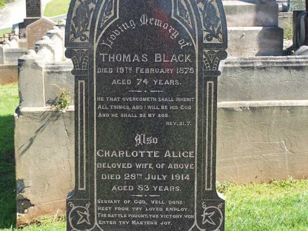 Headstone at Gerringong Cemetery for Thomas Black and Charlotte Hindmarsh