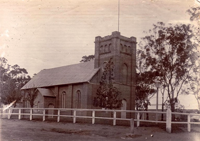 Old photo of St Peter's Church at Campbelltown where Cecilia Sophia Rutter married Michael Hindmarsh in August 1826