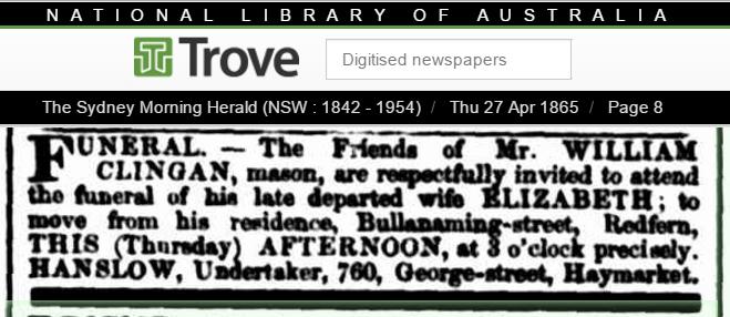 1865 Funeral Notice for Elizabeth Cowden - Clingan