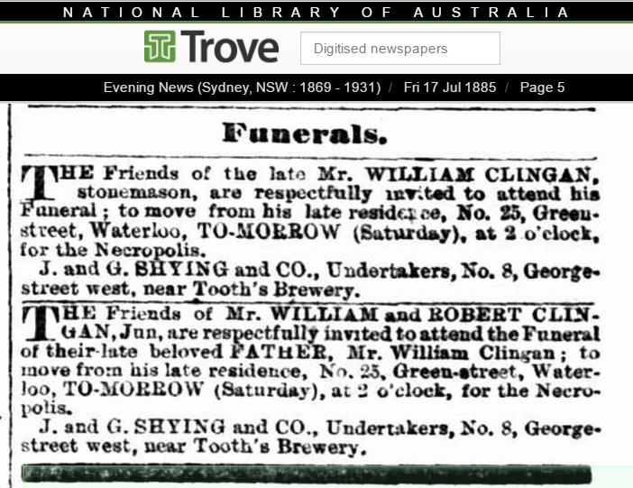 1885 Funeral Notice for William Clingan
