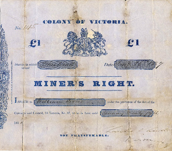 Miner's Right licence issued in Victoria in 1857