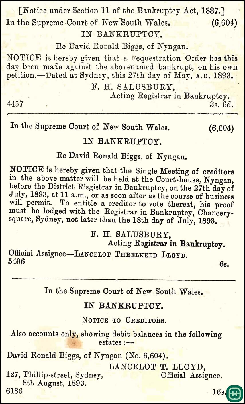 In June 1893, the Bankruptcy Court made sequestration to David Ronald Biggs, of Nyngan, to Mr. L.T. Lloyd, official assignee