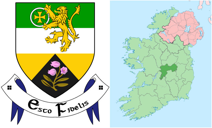 Myles Malone and his wife Anne lived in Offaly Ireland Crest and Location as detailed by Wikipedia