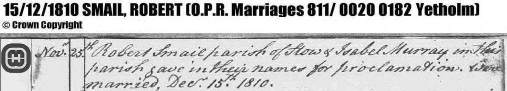 Extract from Marriage record for Robert Smail and Isabel Murray