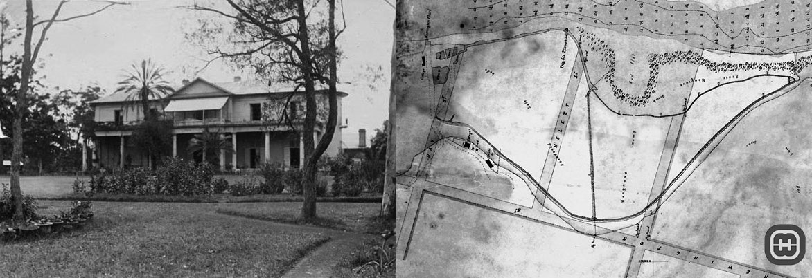 Image showing Newington House and a map of abandoned salt works developed by William Rutter.