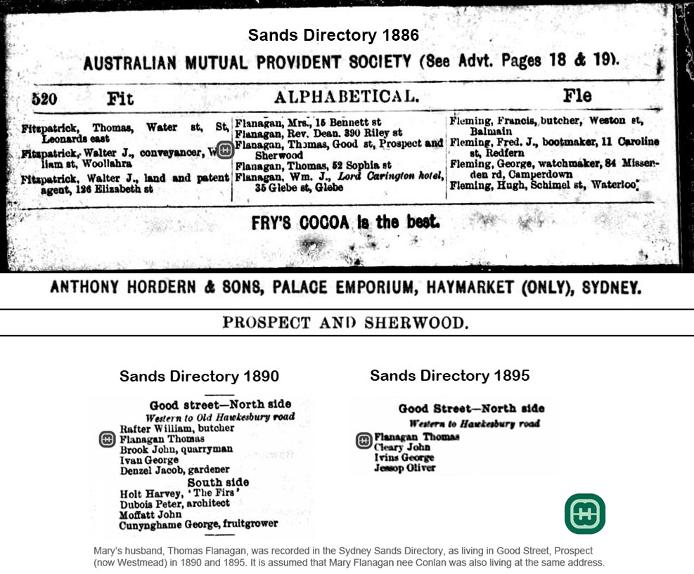 Sands Directory showing residence of Thomas Flanagan between 1886-1895