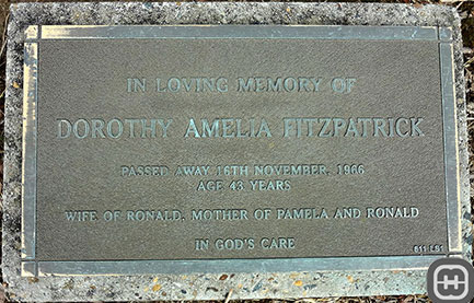 Burial Plaque for Dorothy Amelia [ms Morris] Fitzpatrick