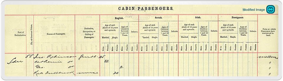 UK Outward Passenger List showing Kathleen Fulbrook