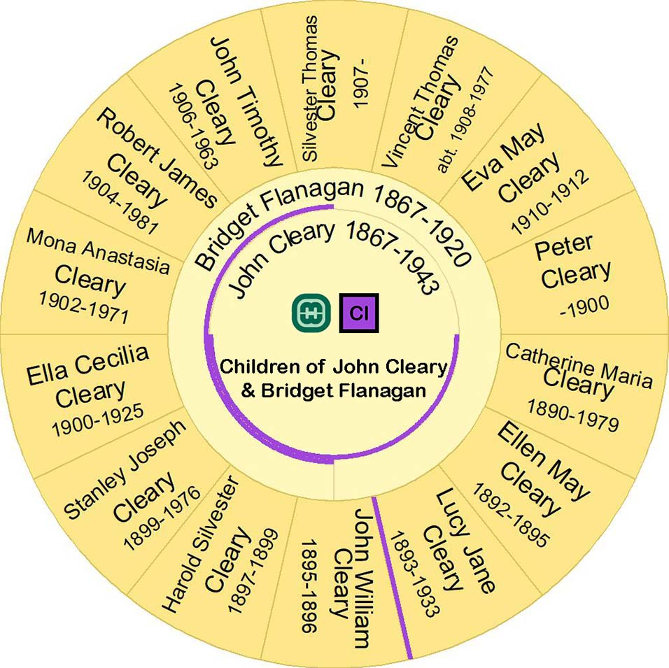 Fan Chart showing the children of  John Cleary and Bridget Flanagan