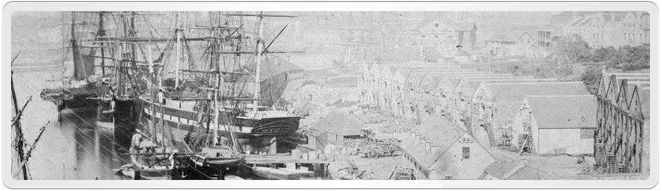 "Early photograph of Sydney Cove (1857-1863). Clarissa Fanny Smith arrived in Sydney aboard the ship ""John and Lucy"" in 1857"