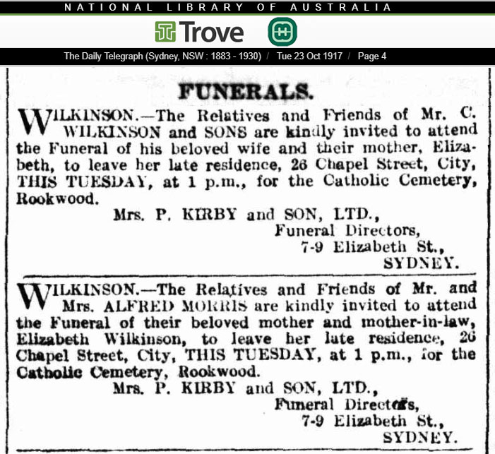 Family Notice in the Sydney Daily Telegraph advising about the funeral of Elizabeth Ann Wilkinson