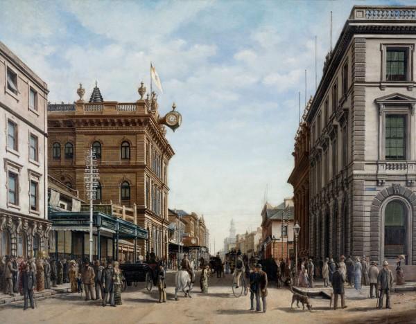 Oil painting of George Street, Sydney in 1883