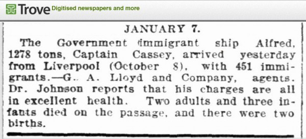Newpaper report about the arrival of the Government immigrant ship Alfred to Port Jackson in 1860