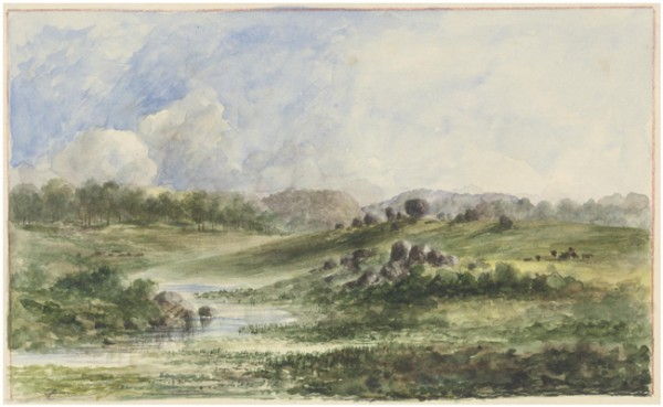 Watercolour of Stonehenge Beardie Plains in New South Wales by Edward Thompson c.1848