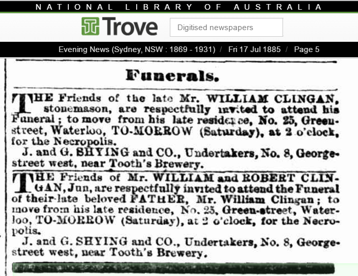 1885 Funeral Notice for William Clingan