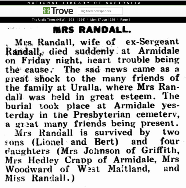 Death of Isabella Marion Randall published in the Uralla Times