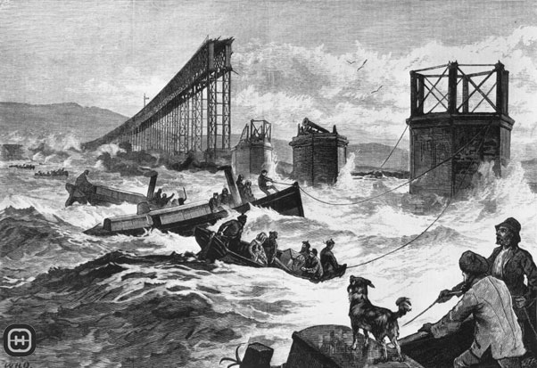 A drawing of the Tay Bridge disaster, published in the Illustrated London News.