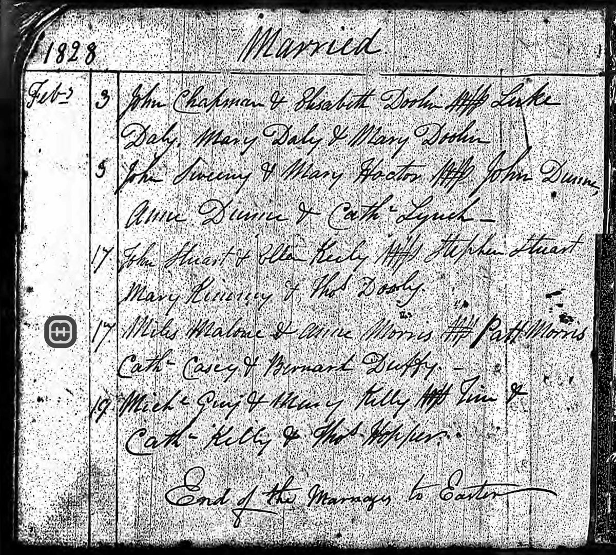 This document shows the marriage of Miles Malone and Anne Morris in 1828, it has been cropped.
