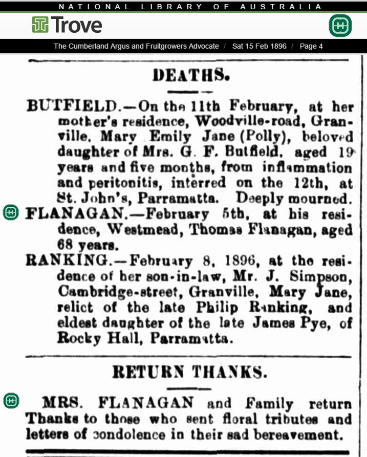 1896 Newspaper Death Notice for Thomas Flanagan