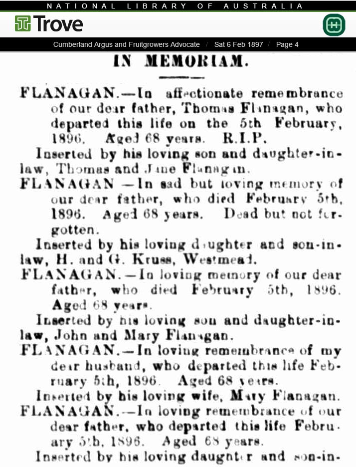 1897 newspaper In Memoriam notice for Thomas Flanagan