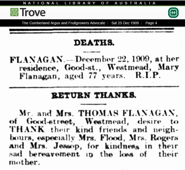 1909 newspaper Death notice for Mary Flanagan