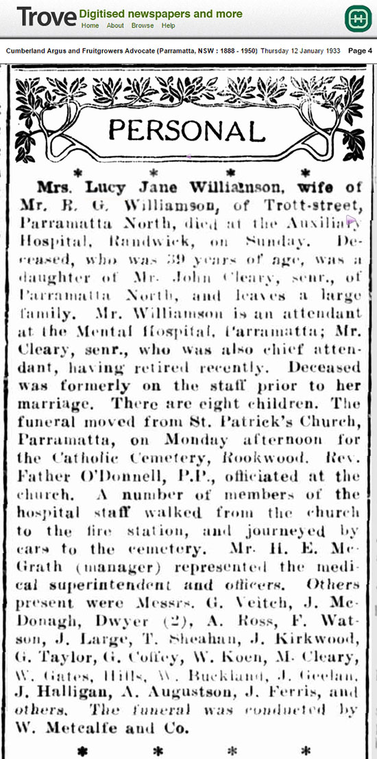Newspaper Report about the death of Lucy Jane Cleary-Williamson