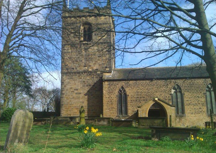 Photo of St Marys Parish Church Woodkirk where Charlotte Robinson was baptised in January 1777.