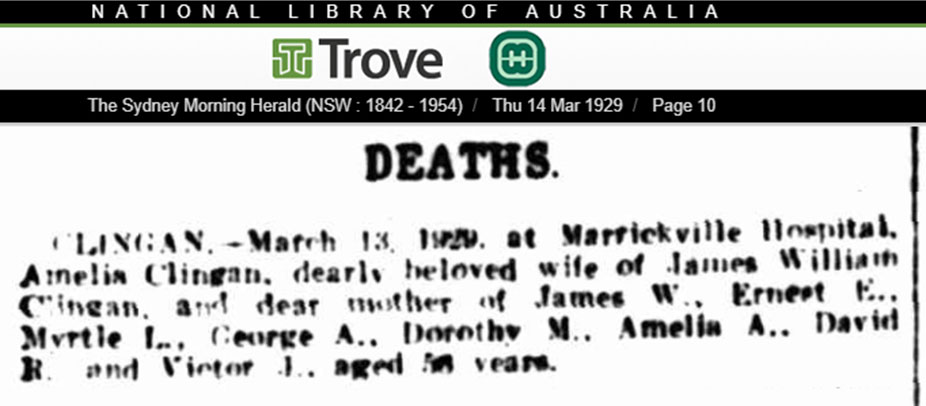 Amelia Clingan MS Biggs Death Notice 14 Mar 1929