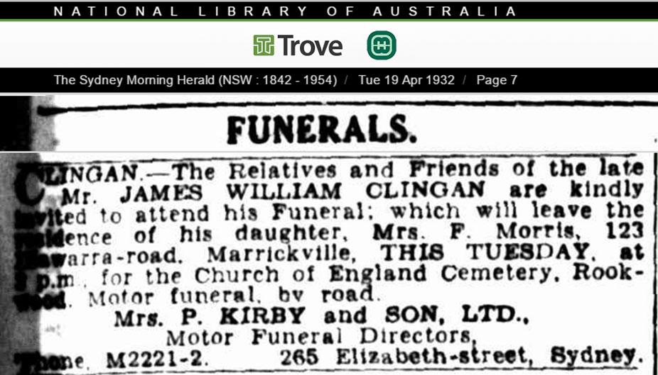 James William Clingan Funeral Notice 19 April 1932