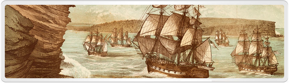 The First Fleet arrived at Botany Bay on 24 January 1788 and is shown entering Port Jackson two days later,