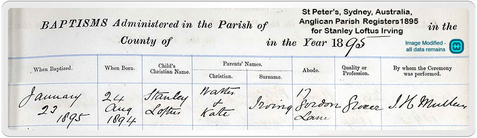 Church record showing baptism of Stanley Loftus Irving in 1895