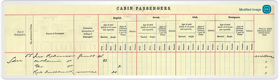 UK Outward Passenger List showing Kathleen Fulbrook