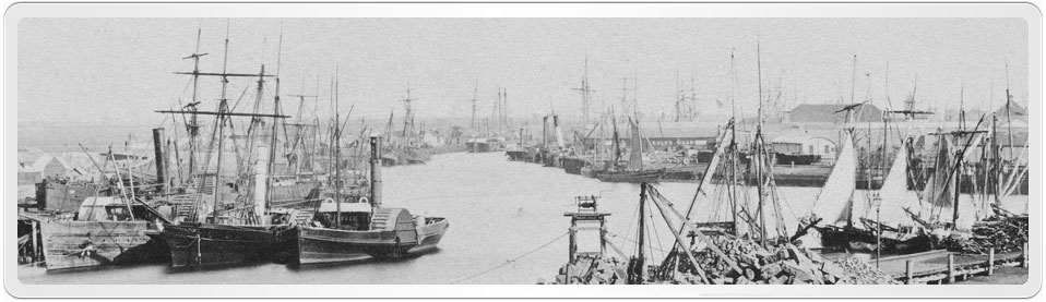 Photograph of shipping on the Yarra River Melbourne in the 1850s