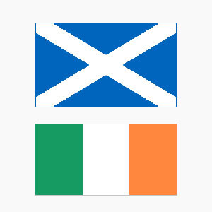 Flags of Scotland and Ireland