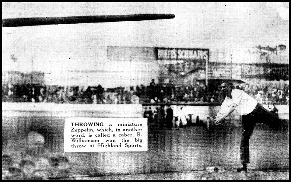 Reginald George Williamson throwing the caber at the 1931 Highland games in Sydney.