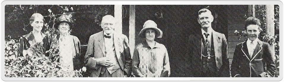 Photo of the Johnston family at Ellenthorpe showing left to right - Maude, Margaret, David, Ella, Alfred and William