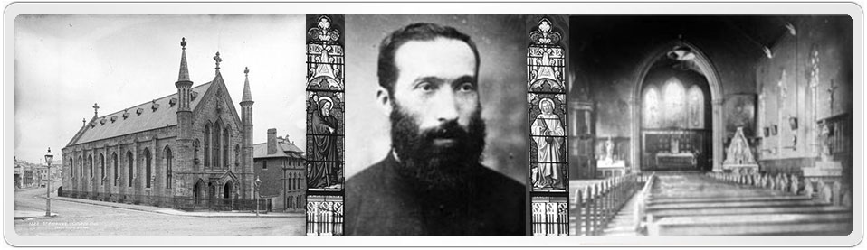 Bridget Flanagan and John Cleary were married by Peter Piquet at St. Patrick's Church, Sydney. This photo shows the interior and exterior of the church c.1880s and priest Peter Piquet.