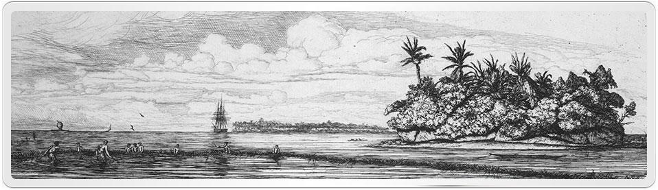 "Engraving of the French 24 Gun Man of War ""Le Rhin"" at Akaroa"