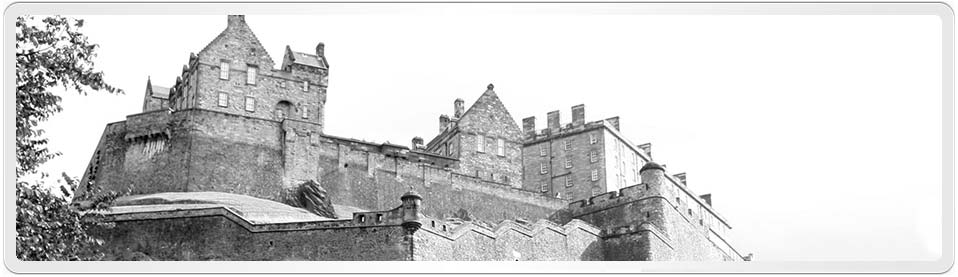 Edinburgh Castle viewed from St Cuthberts Churchyard [B&W Modified & Cropped, click picture to see original]