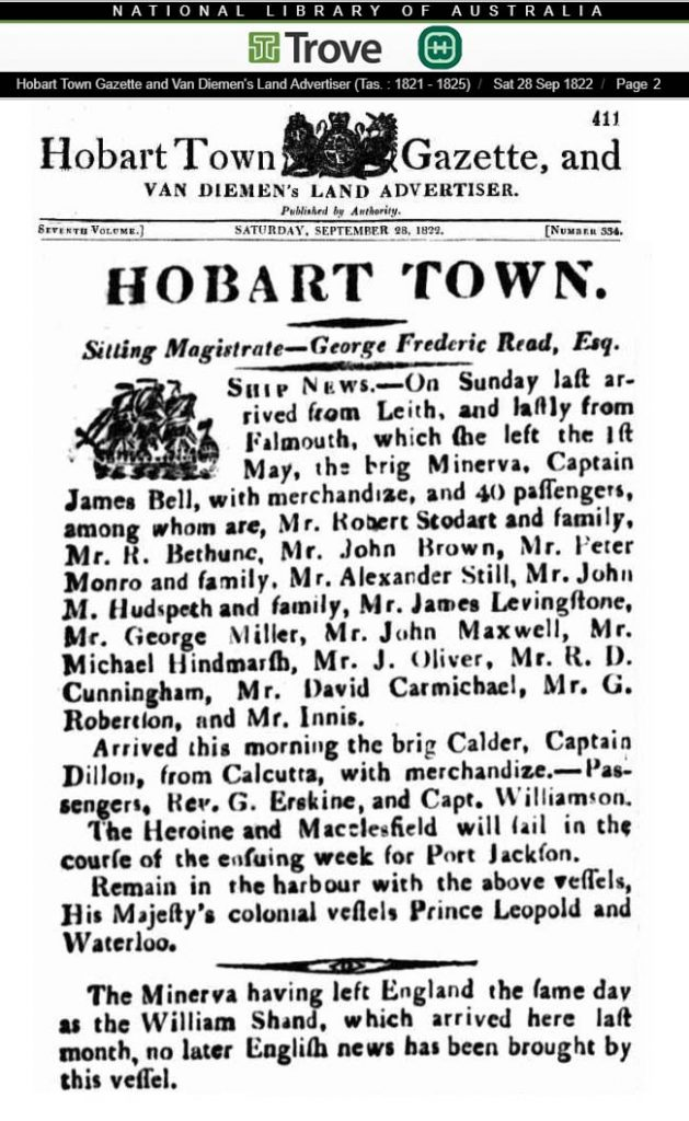 Newspaper article from Hobart, Australia advising the arrival of Michael Hindmarsh from Leith, Scotland.