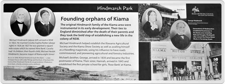 Plaque in Hindmarsh Park at Kiama about Michael Hindmarsh and Cecilia Sophia Rutter, the founding orphans of Kiama.