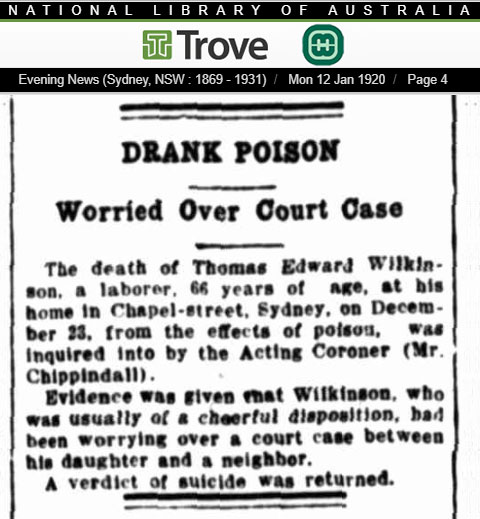 Newspaper article in the Sydney Evening News regarding the suicide death of Thomas Edward Wilkinson