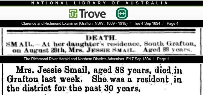 Newspaper reports regarding the death of Mrs. Jessie Cumming Smail, aged 88 years