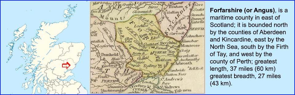Old map of Forfarshire (or Angus), Scotland showing its boundaries to Aberdeen, Kincarine, North Sea, Firth of Tay and Perth.