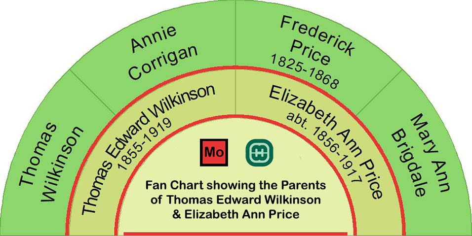 Fan chart showing the parents of Thomas Edward Wilkinson and his wife Elizabeth Ann Price